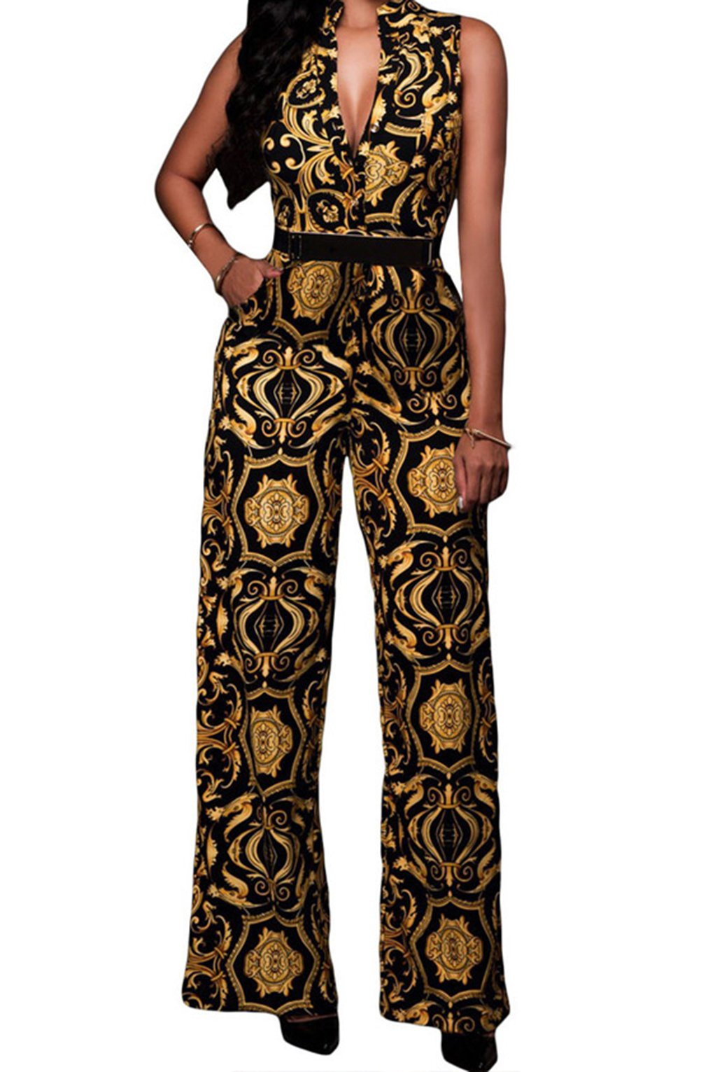 BYY Yellow Tapestry Print Belted Jumpsuit(Black,M) by BYY