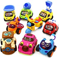 WP 4 Play Vehicles, Friction Powered Pull & Push Toys, Helicopter, Train, Airplane, Car, Scooter, Cement Mixer, Dumper Truck, Excavator, Towing Car, Learning, Educational 2, 3, 4, 5, 6 Kids Toddler