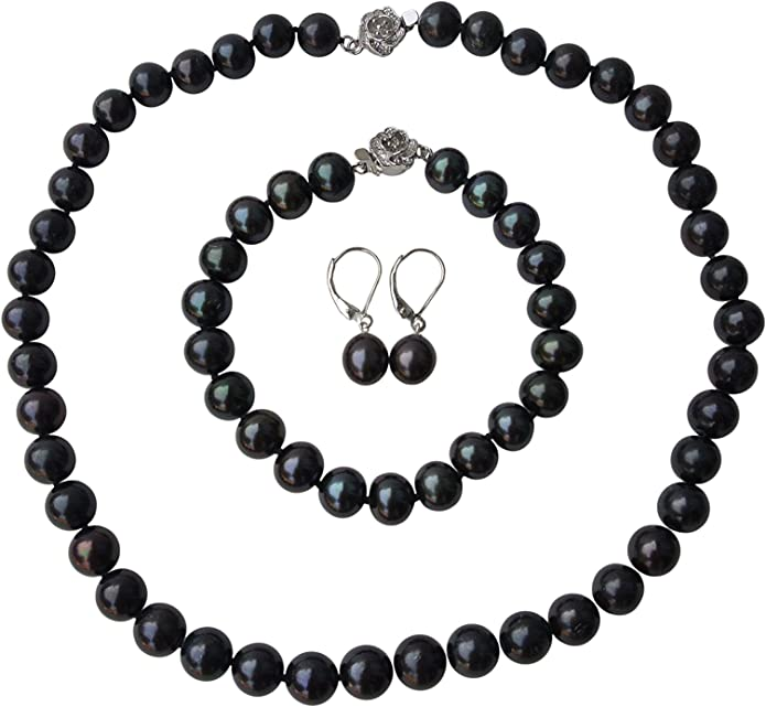 """36/"""" Long Genuine ROUND 9-10mm Black Pearl Strand Necklace Cultured Freshwater"""