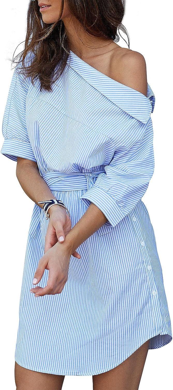 Simplee Apparel Women's Half Sleeve One Shoulder Side Split Striped Shirt Dress