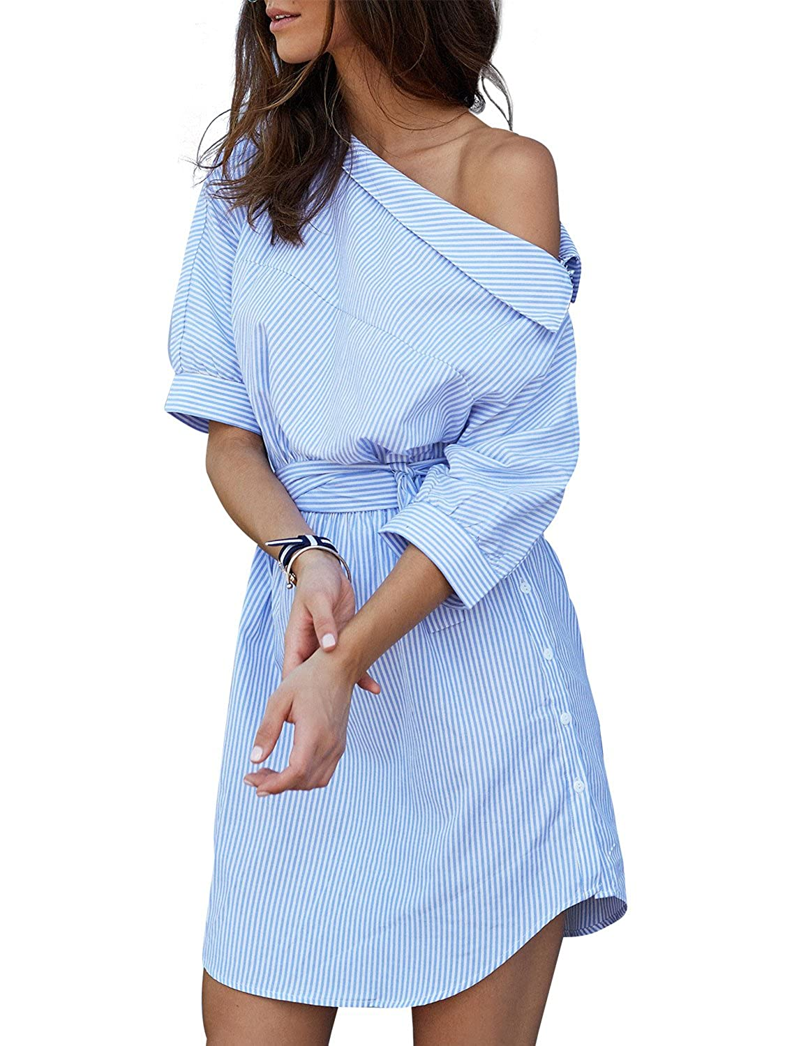 bc94eb8fe6 Simplee Apparel Women's Half Sleeve One Shoulder Side Split Striped Shirt  Dress at Amazon Women's Clothing store: