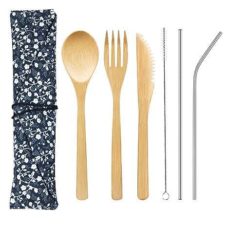 Amazon.com: Juego de cubiertos de bambú con paja de metal y ...