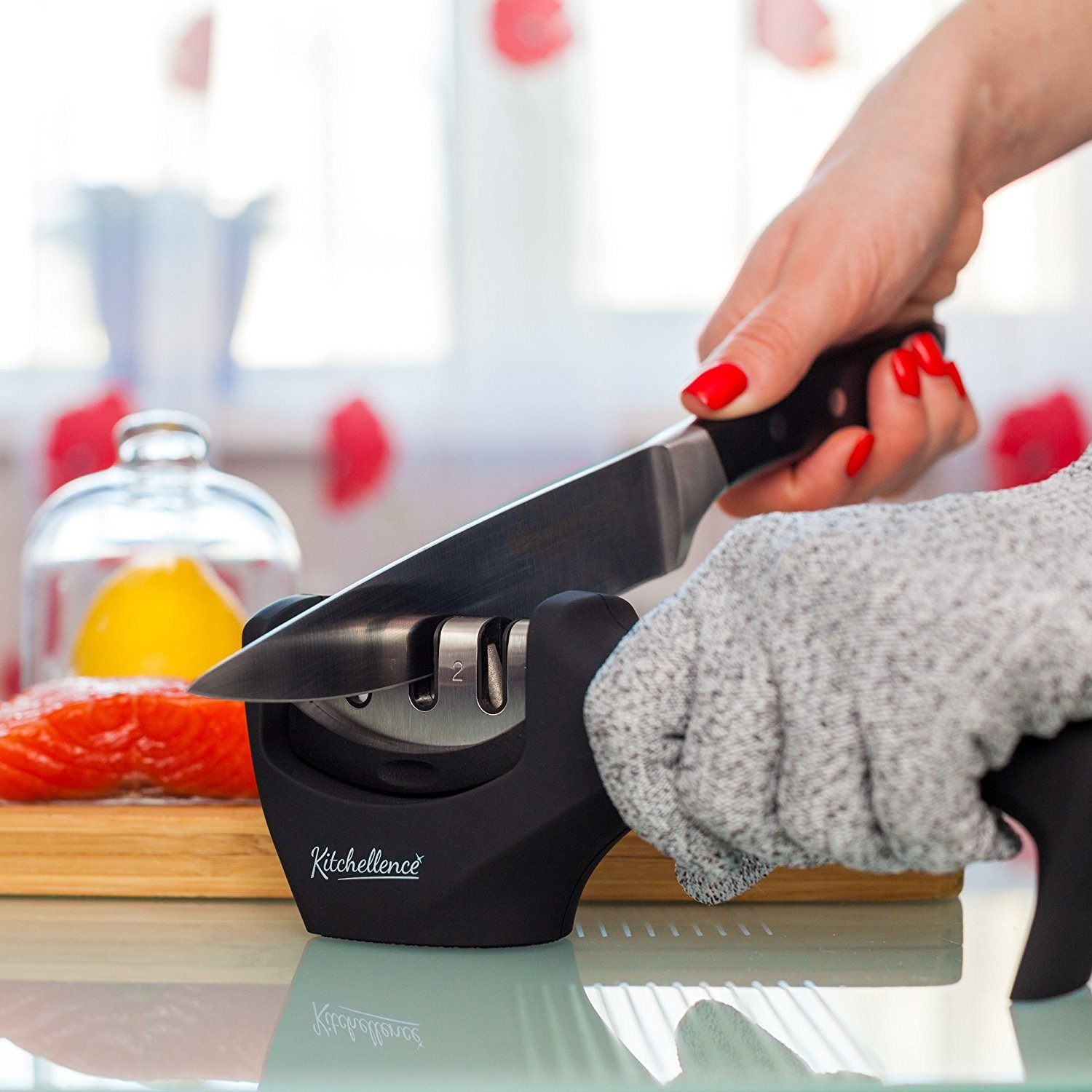Kitchen Knife Sharpener - 3-Stage Knife Sharpening Tool Helps Repair, Restore and Polish Blades - Cut-Resistant Glove Included (Black-Grey)