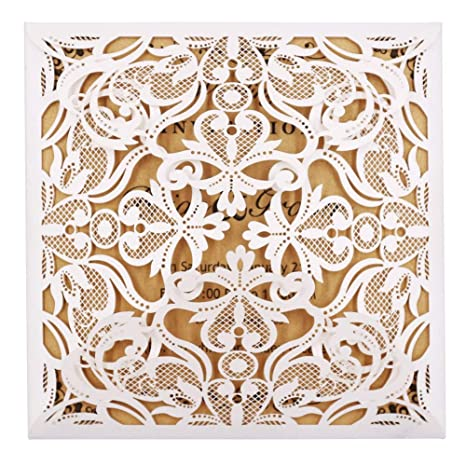 Amazon laser cut invitations 50 pack fomtor laser cut wedding laser cut invitations 50 pack fomtor laser cut wedding invitations card kit with blank printable paper filmwisefo