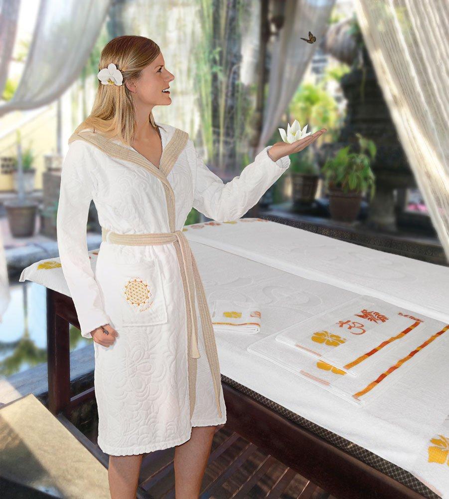 Bademantel Velour 100% Bio-Baumwolle weiß beige Gr. L von Spirit of OM
