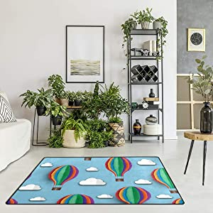 Custom Area Rugs Hot Air Balloon White Cloud Blue Sky Floor Mat Indoor/Outdoor Rugs Home Non Slip Large Entryway Carpet Doormat 6'x4'