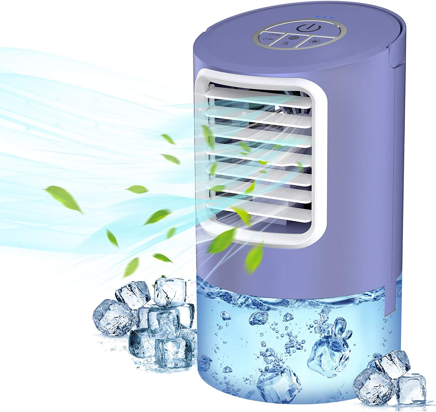Portable Air Conditioner Fan, Evaporative Air Cooler, 3-in-1 Portable Air Cooler, 3 Speeds & 2/4H Timer Cooling Fan Portable for Home, Office, Bedroom, Travel(Purple)