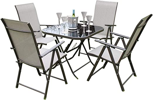 Henley- Juego de mesa y sillas de jardín para 4 personas, incluye ...