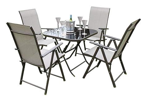 Henley- Juego de mesa y sillas de jardín para 4 personas, incluye 4 sillas plegables y una mesa plegable con superficie de cristal.