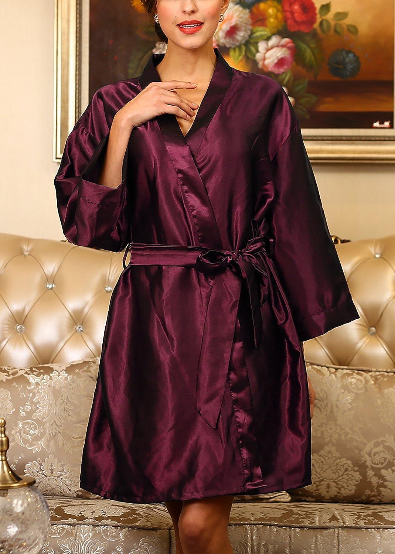 raso di seta corto abito accappatoio damigella donore da notte Pajamas Sleepwear Dolamen Donna Vestizione del kimono abito