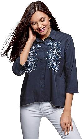 oodji Ultra Mujer Camisa Holgada con Bordado: Amazon.es: Ropa y accesorios