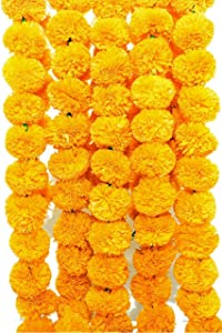Sharvgun Pack of 5 Artificial Yellow Marigold Flower Garlands 5 ft Long- for use in Parties, Celebrations, Indian Weddings, Indian Themed Event, Decorations, House Warming