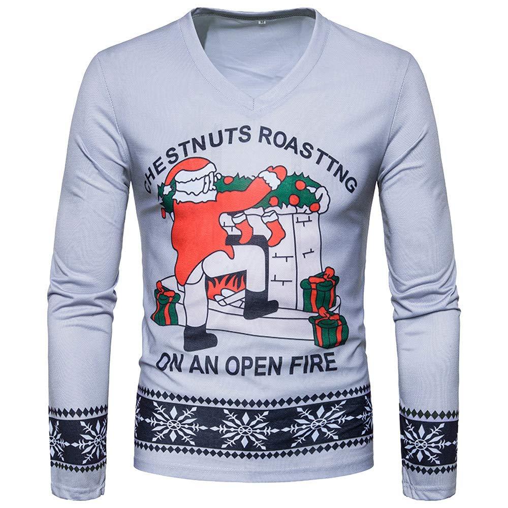 Fxbar,Ugly Santa Mens Adult Pullover Holiday Humor Athletic-Fit Hoodie Snowflakes Shirts for Men