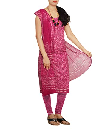 199ec946a8 Image Unavailable. Image not available for. Colour: Unnati Silks Women  Unstitched pink pure Rajasthani soft cotton salwar kamiz dress material