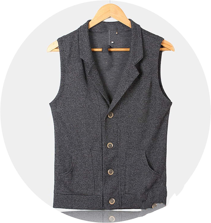 Vest Jacket Mens Knitted Vests Vintage Waistcoat Suit Vest Male Clothing Vest British Style Gray