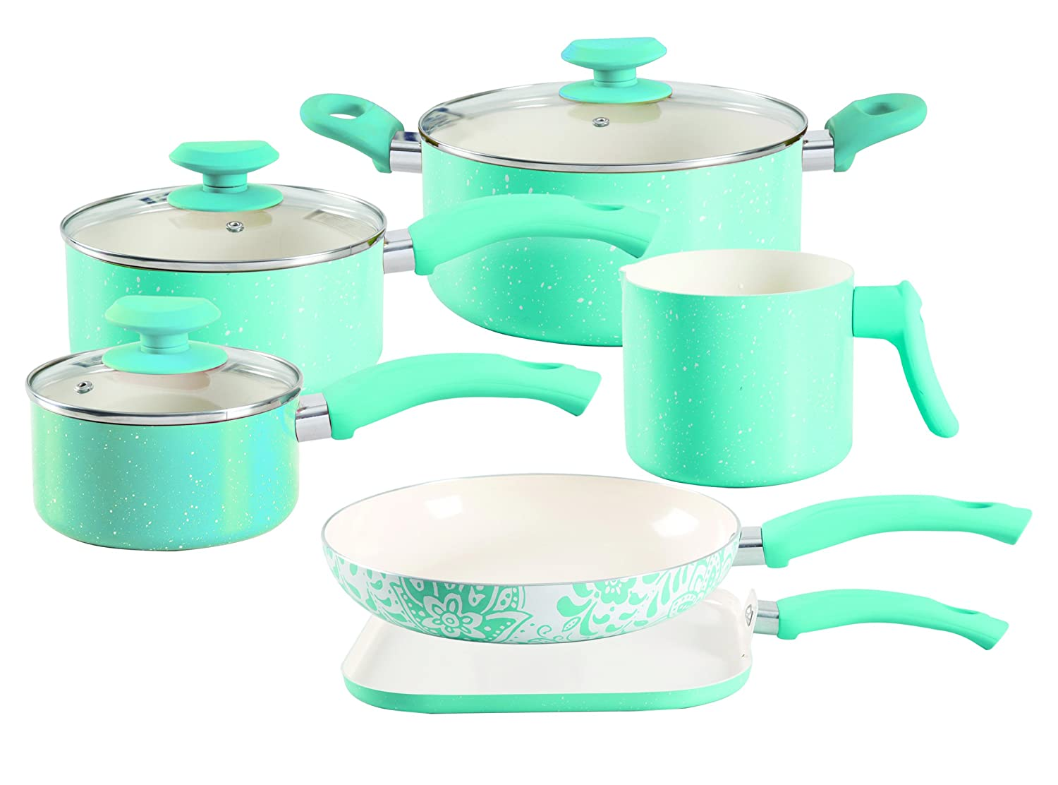 Oster Cocina 112069.09 San Jacinto 9 Piece Non-Stick Cookware Set, Turquoise Speckle