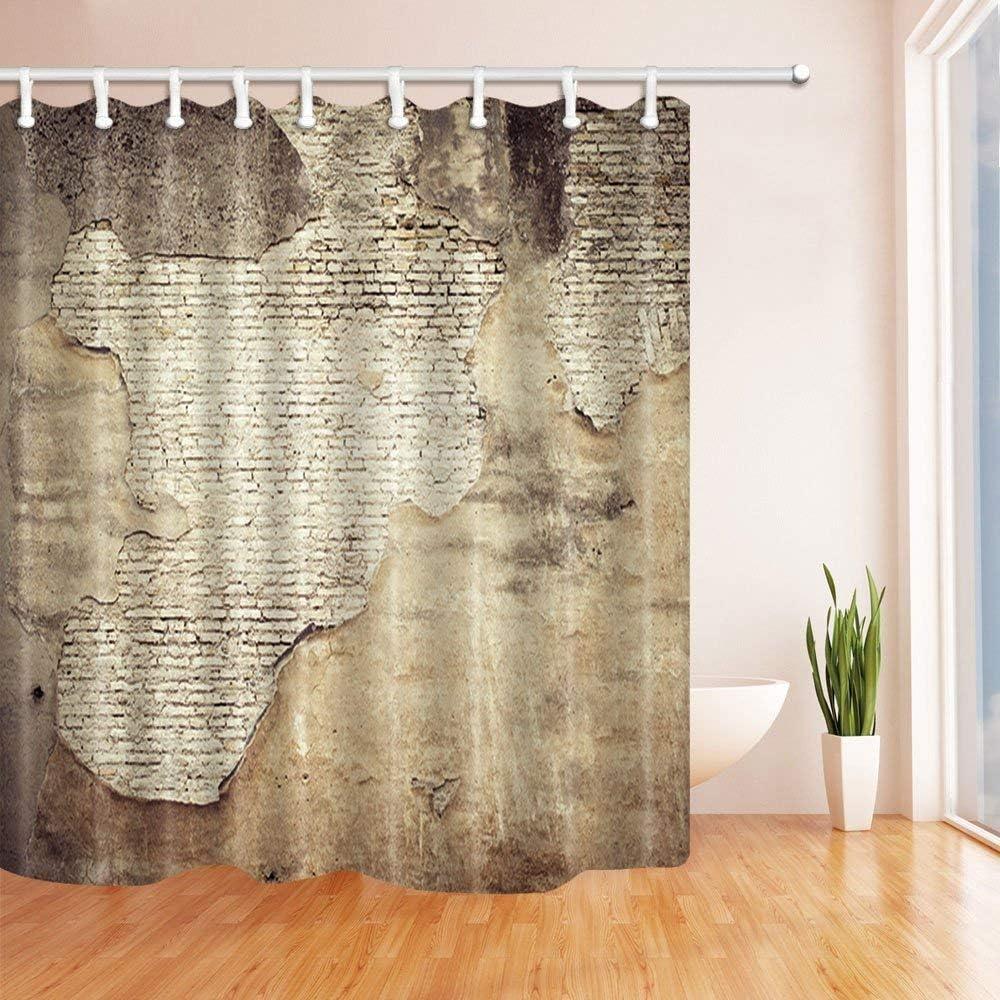 GoHEBE - Cortina de ducha con anillas, diseño rústico de piedra, para decoración de la pared, tejido de poliéster resistente al moho