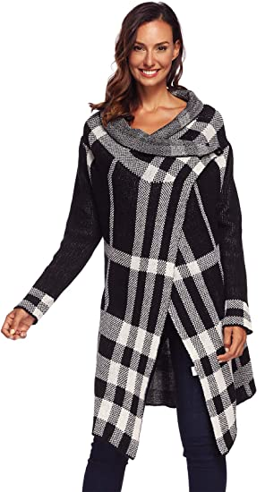 Arctic Cubic Long Sleeve Plaid Checkered High Low Hem Waterfall