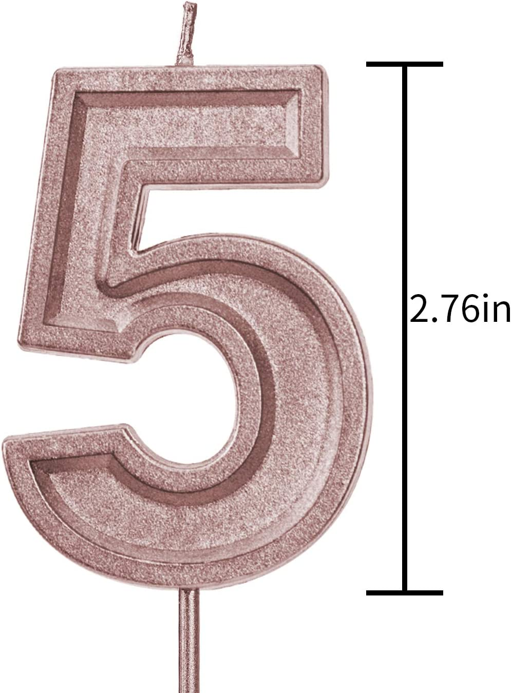 Number 8 LUTER 2.76 Inches Large Birthday Candles Gold Glitter Birthday Cake Candles Number Candles Cake Topper Decoration for Wedding Party Kids Adults