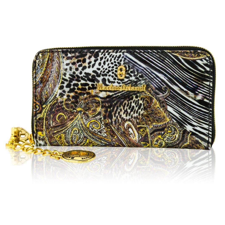 Marino Orlandi Italian Designer Jungle Metallic Glitter Leather Ziparound Wallet Clutch