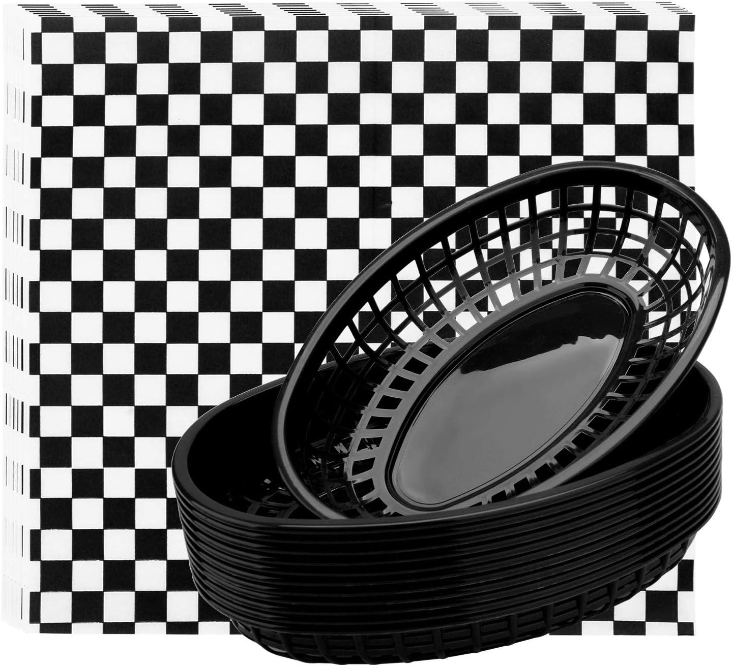 Burger Baskets & Paper Liners, Eusoar 100pcs Wax Deli Paper and 12 pcs Food Baskets Serving Tray Setsfor Restaurant Supplies, Deli Serving, Chicken, Burgers&Fries