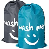 ZERO JET LAG 2 Pack Extra Large Travel Laundry Bag Set Nylon Rip-Stop Dirty Storage Bag Machine Washable Drawstring Closure 24 x 36 (Blue and Gray)