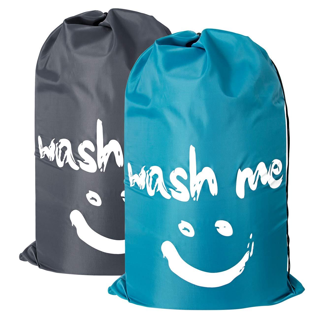 ZERO JET LAG 2 Pack Extra Large Travel Laundry Bag Set Nylon Rip-Stop Dirty Storage Bag Machine Washable Drawstring Closure 24'' x 36'' (Blue and Gray) by ZERO JET LAG (Image #1)