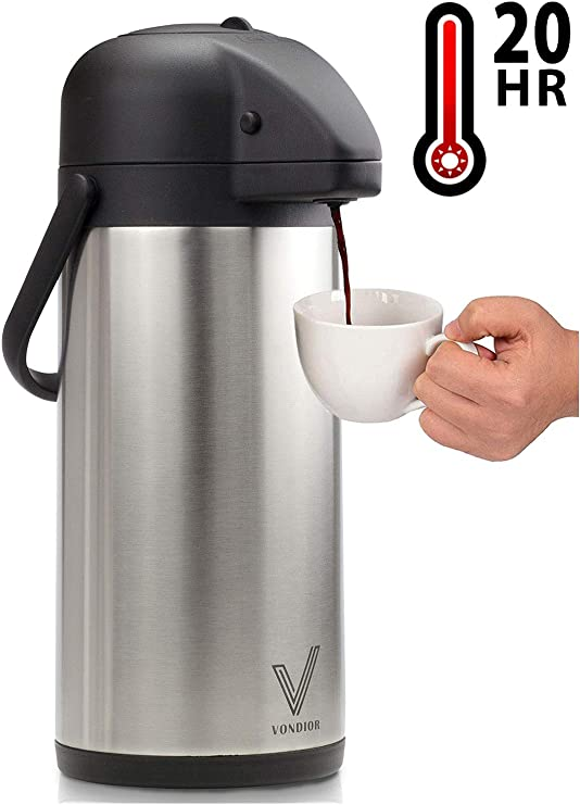 HOT COLD AIRPOT FLASK THERMOS TEA COFFEE DRINK S//S PUMP ACTION VACUUM 5 SIZE NEW