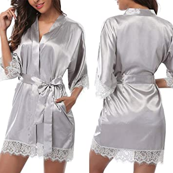 Bata Personalizada, Bata De Seda para Mujer Vestidos De Novia Bata De Satén Tallas Grandes Pijamas De Boda,Grey-M: Amazon.es: Hogar