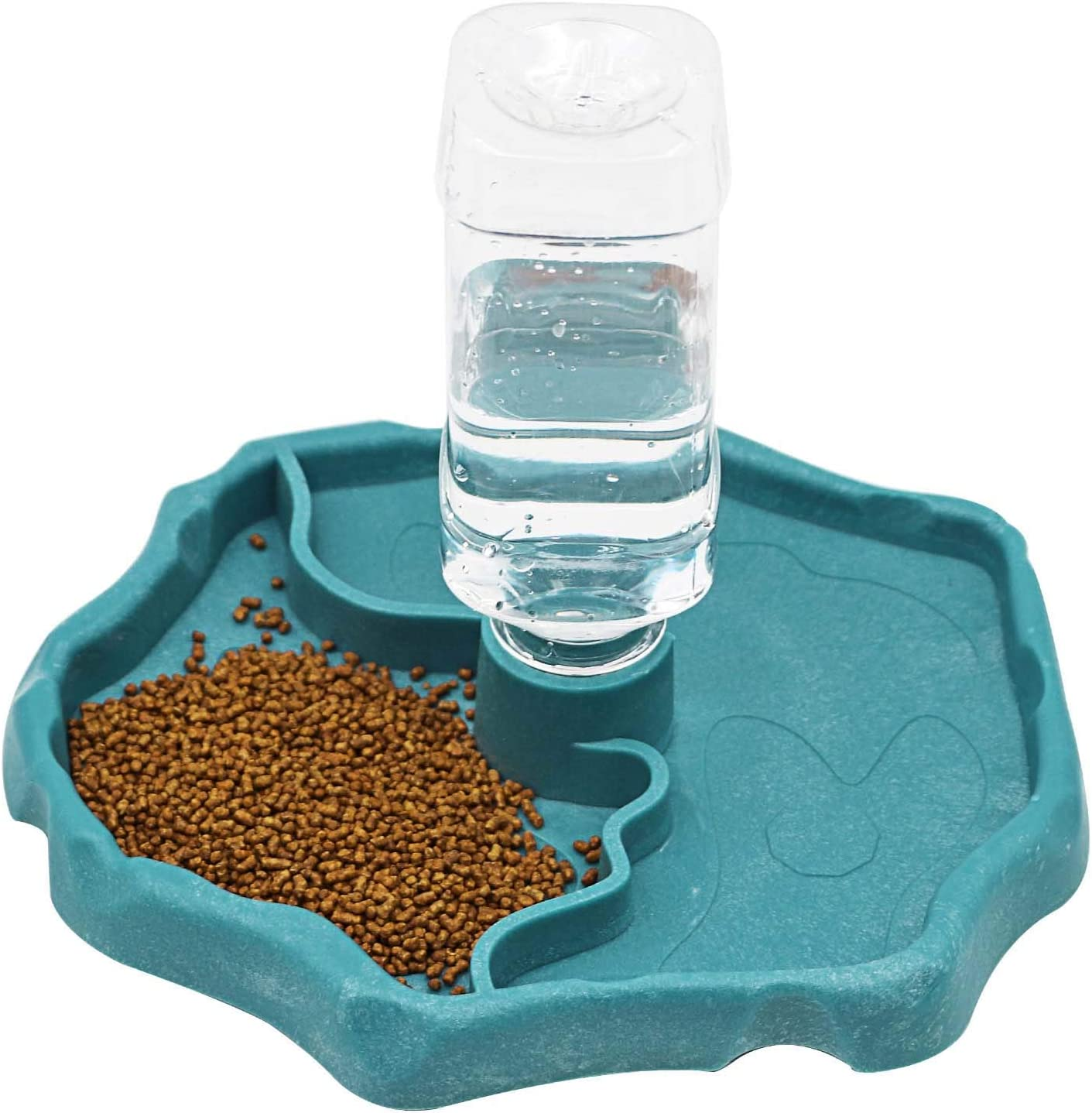 MACGOAL Automatic Reptile Feeder Reptile Food and Water Dish Bowl Reptile Water Dish with Bottle Tortoise Turtle Water Dispenser for Bearded Dragon Gecko Lizard (Blue)