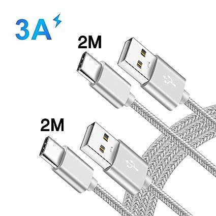 YBPower para Cable Samsung A50 A40 A20E A20 A30 A60 A90 2019 Galaxy USB Tipo C Carga Rápida,2M 2M 2 Unidades,Nylon Trenzado Cargador USB A TO Type ...