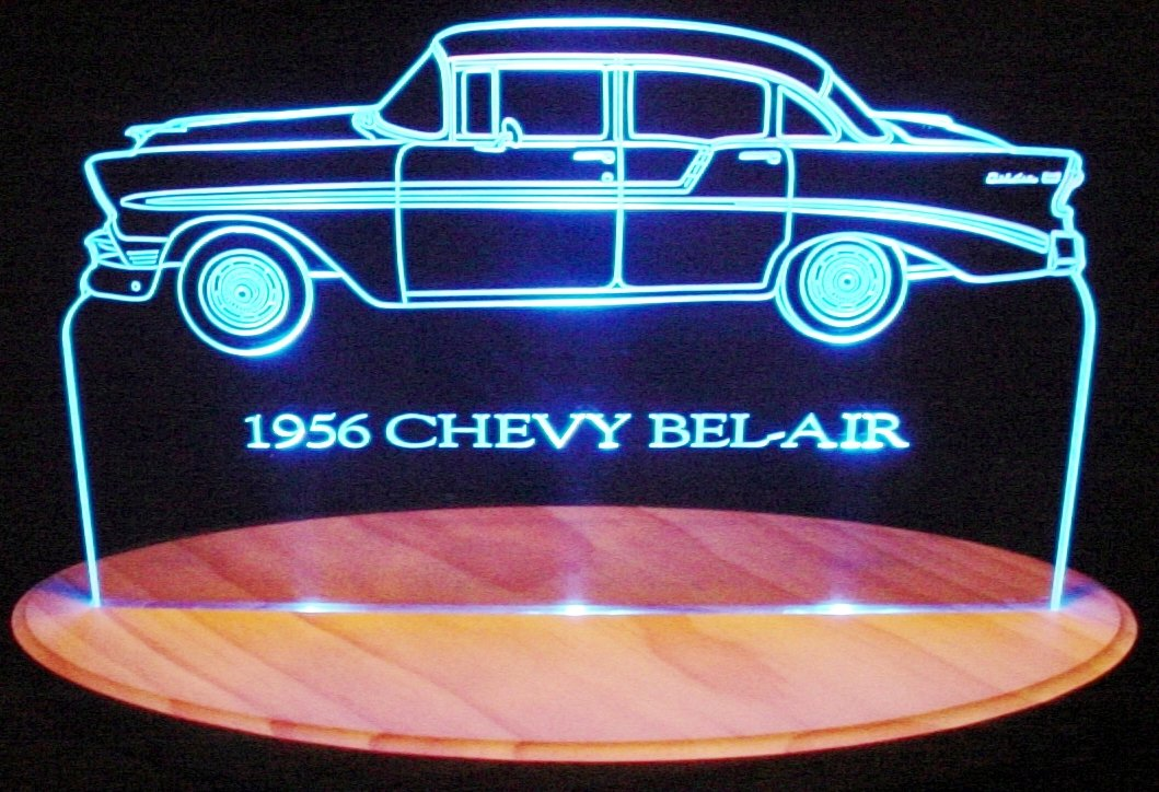 1956 Chevy Belair Acrylic Lighted Edge Lit 13'' LED Sign / Light Up Plaque 56 VVD1 Full Size USA Original