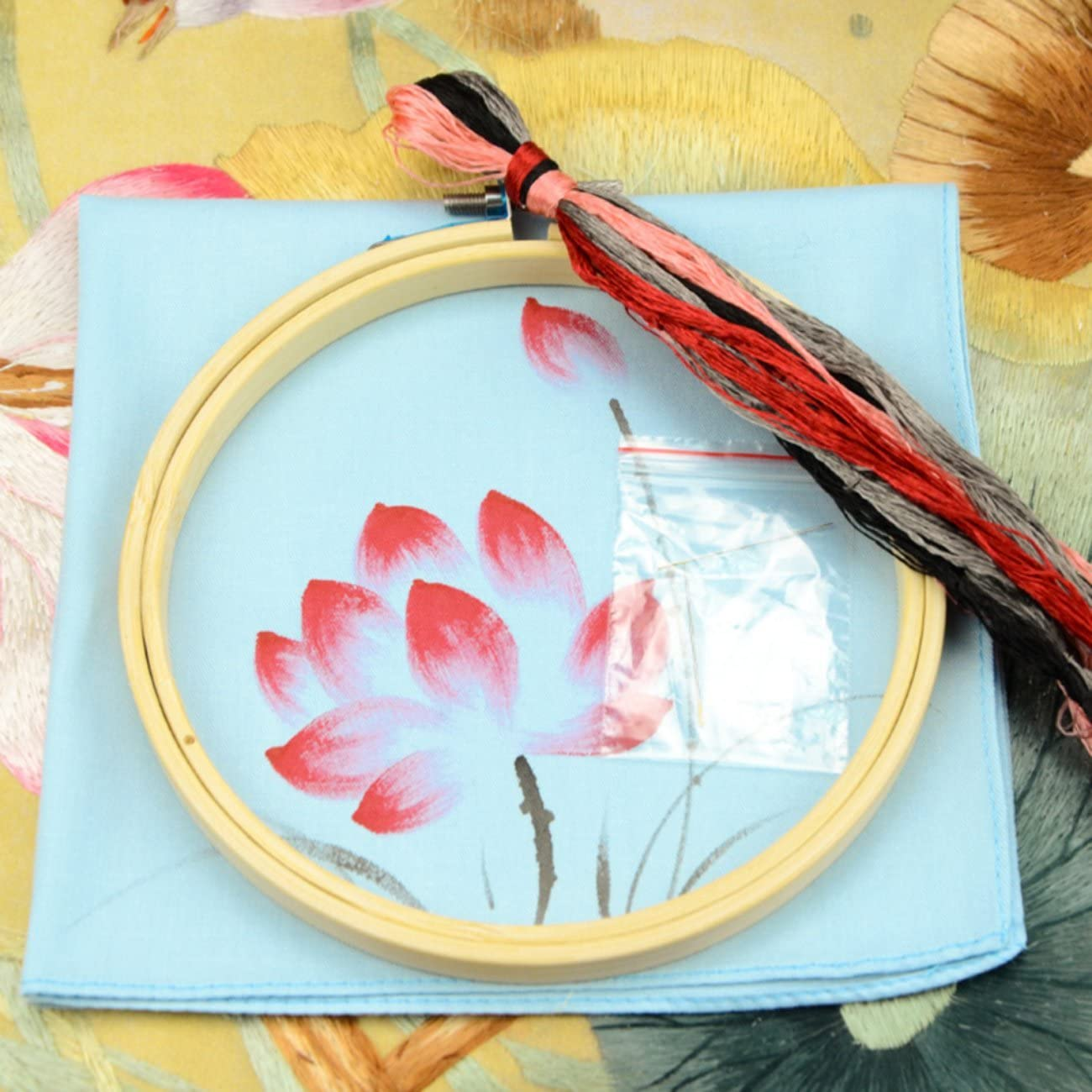 FayOK 6 Size Wooden Round Embroidery Hoops Adjustable Bamboo Circle Cross Stitch Hoop Ring Bulk Wholesale for Art Craft Handy Sewing