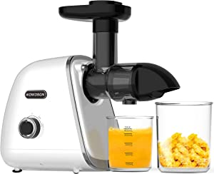 Juicer Machines,WOWDSGN Cold Press Juicer with High Juice Yield and Easy Cleaning,Quiet Motor slow juicer,Masticating Juicer machines Vegetable and Fruit,White