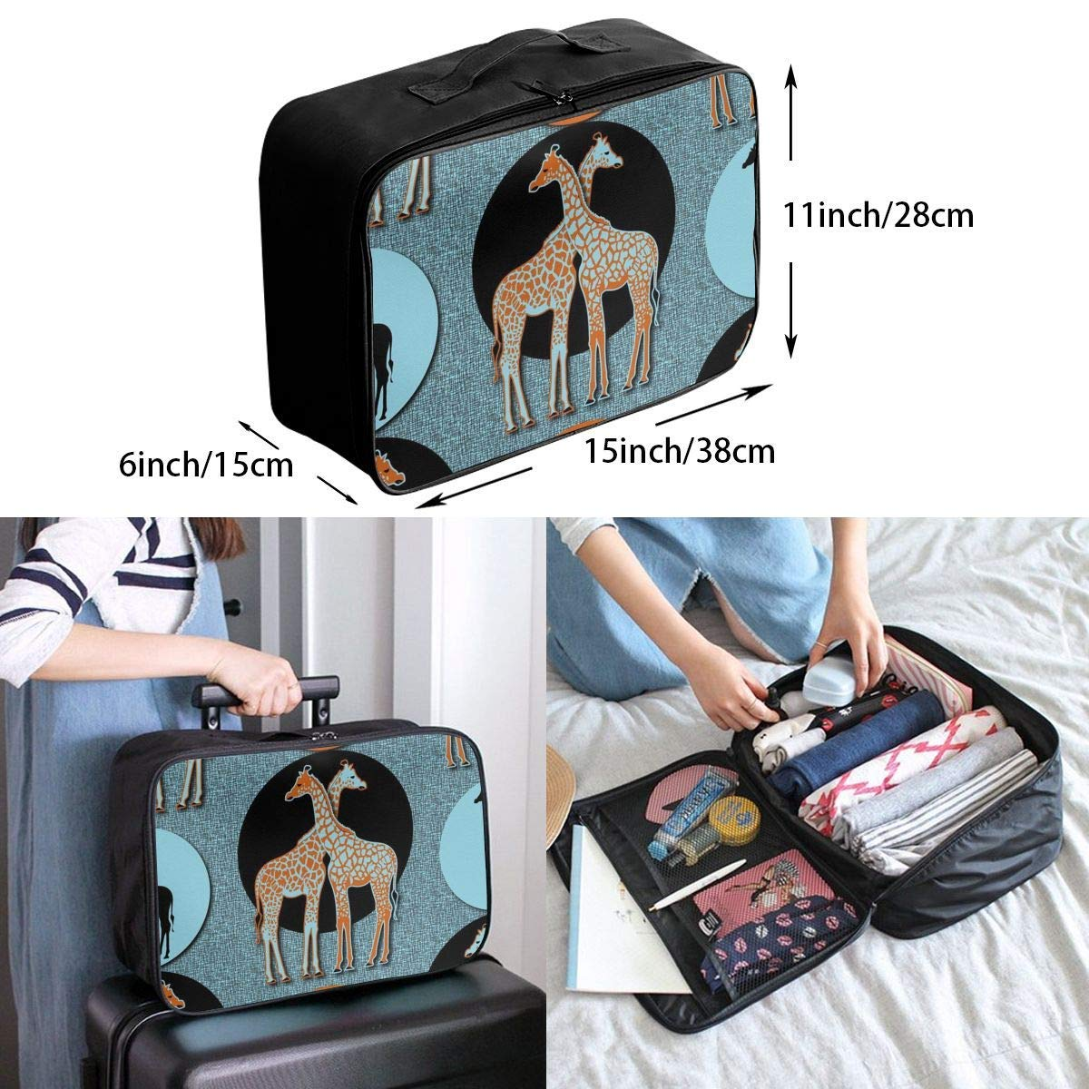 JTRVW Luggage Bags for Travel Travel Lightweight Waterproof Foldable Storage Carry Luggage Duffle Tote Bag Love Giraffe