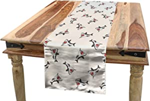"""SHANNON Throw Shark Table Runner, Aggressive Hungry Sea Creatures with Open Mouth Hunting for Prey in Cartoon Style,Dining Room Kitchen Rectangular Runner,14"""" x 72"""", Grey Red Cream"""
