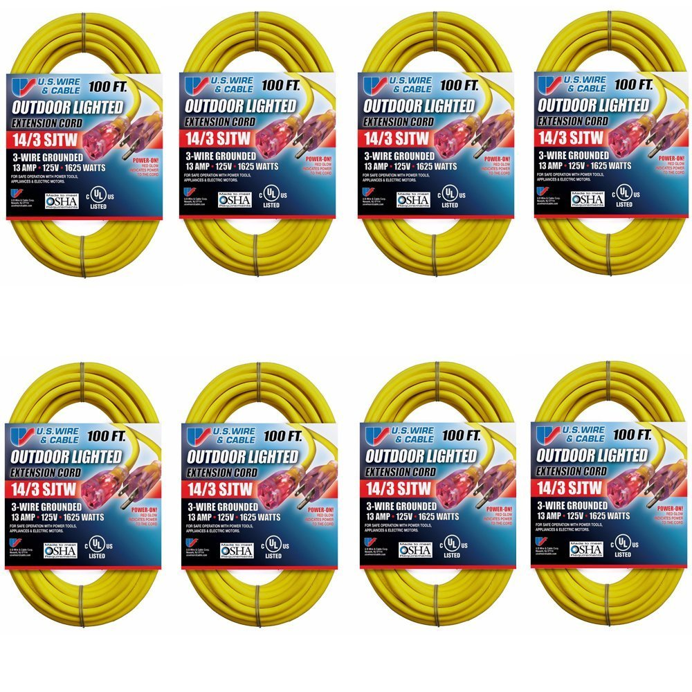 Us Wire And Cable 14 3 100 Feet Sjtw Yellow Lighted Wiring Extension Cord Plug Garden Outdoor
