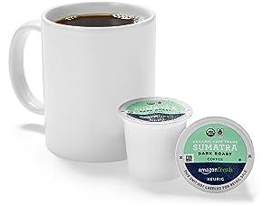 AmazonFresh 80 Ct. Organic Fair Trade K-Cups, Sumatra Dark Roast, Keurig K-Cup Brewer Compatible
