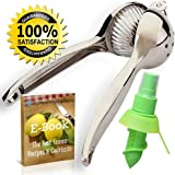 Lemon Lime Squeezer & Citrus Juicer Tool – Fantastic Manual Press For Juicing Fruite - Heavy Duty & Easy to Squeeze - Includes Lemon Spray Mister & Best Recipes & Cocktails E-book