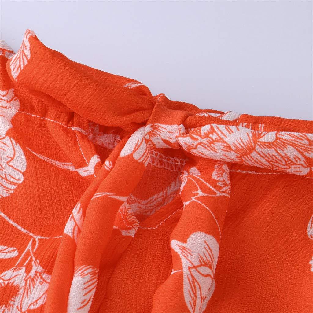 OTINICE Women Sleeveless Halter Strappy Floral Dress Summer Casual Mini Dress Sundress (XL, Z-Orange) by OTINICE (Image #4)
