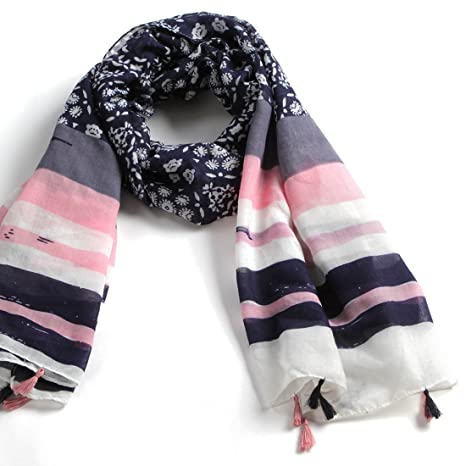 Natural Feelings Feminine Elegant Floral Women Polyester Scarf Wrap with Tassels