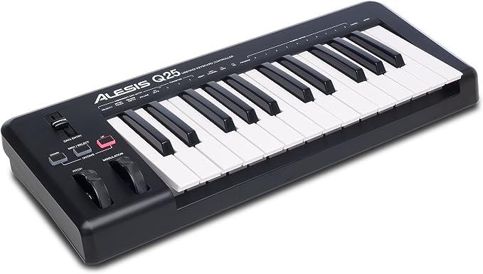 Alesis Q25 - Teclado controlador MIDI USB compacto con 25 teclas sensibles a la velocidad, salida MIDI, ruedas de pitch y modulación y software ...