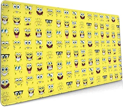 Spongebob Squarepants Mouse Pad Non Slip Rubber Stitched Edges Large Gaming Keyboard Mat Mousepad 10 x 12 x 0.12 Inch