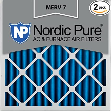nordic pure 20x20x4m7-2 merv 7 pleated ac furnace air filter ...