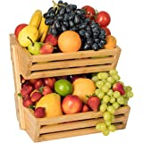 2-Tier Bamboo Bread Vegetable Fruit Basket Rack Stand Holder Bowl for Kitchen Counters, Home Storage Basket Display Tray for