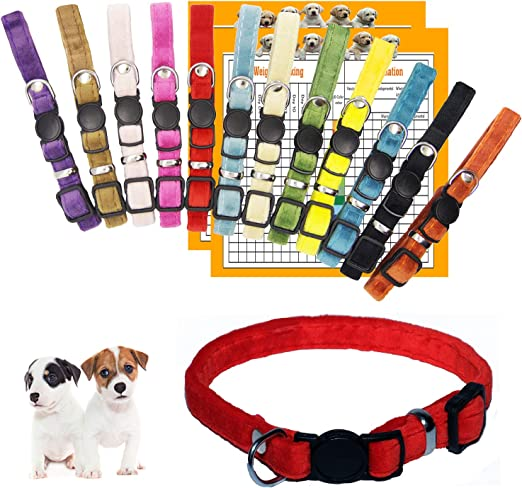 GAMUDA Puppy Collars – Super Soft Velvet Whelping Puppy ID - Adjustable Breakaway Litter Collars Pups – Assorted Colors Plain & Identification Collars with 2 Record Keeping Charts