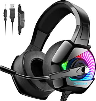 ONIKUMA Auriculares Gaming -Cascos PS4 con Micrófono, Sonido Envolvente Luz Azul Cascos Xbox One Auriculares PC con Cancelación de Ruido: Amazon.es: Electrónica