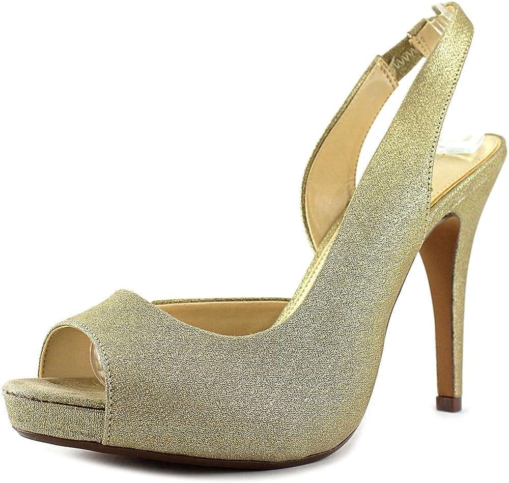 Gold Peep Toe Slingback Heel