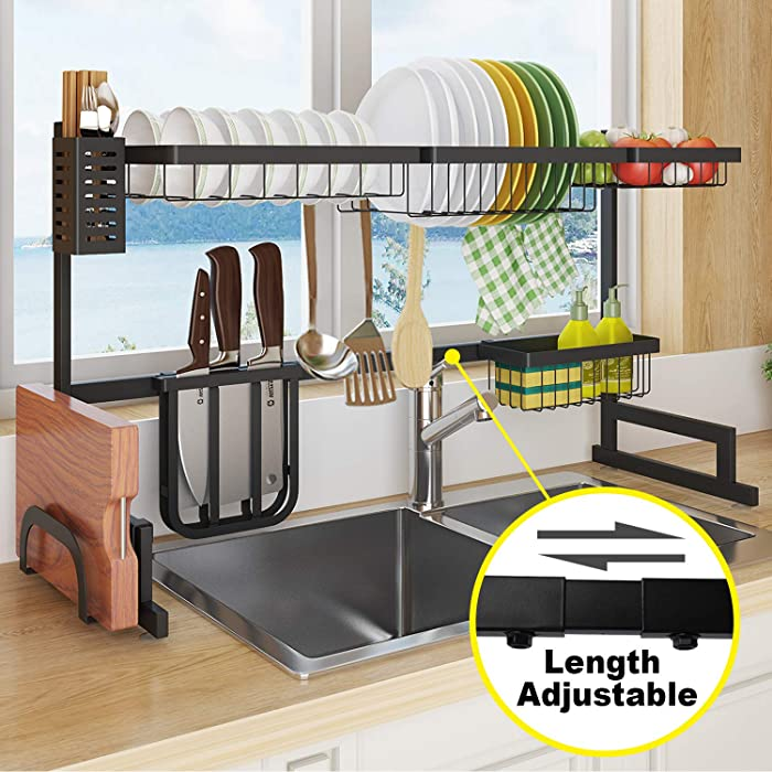 Sincalong B07XXTY1XT-M Length Adjustable Stainless Steel Over Sink Rack, 2 Tier Multifunctional Kitchen Supplies Shelf, Dish Drainer for Sin, 1, Black