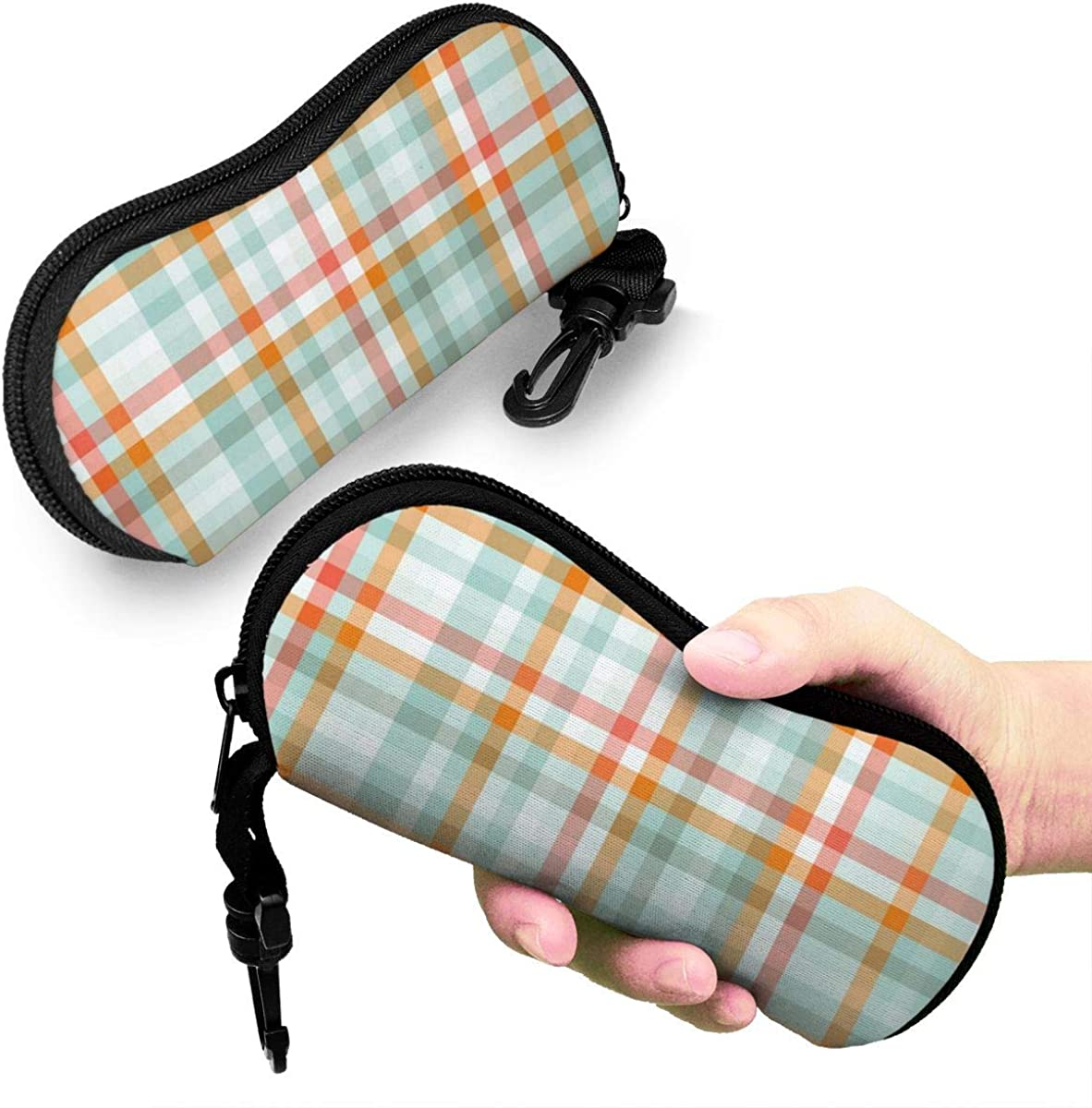 Eyeglass Case Retro Orange Striped Blue Plaid Background Ultra Light Neoprene Protective Case For Glasses And Sunglasses Width 6.7inch Height 3.1inch